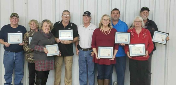 FCFSAB Christmas Dinner and Awards Ceremony--Watalula Fire Fighters are recognized with Years in Service Awards, (L to R) Don and Shirley Gresham, 20 Years; Judy and Tom Jones, 20 Years; Chief Frank Thiesing; Terri Dickerson, 15 Years; Randy Dickerson, 26 Years; Billy and Barbara Schaffer, 28 Years.